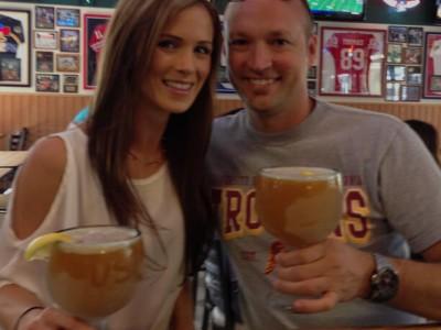 couple drinking schooners